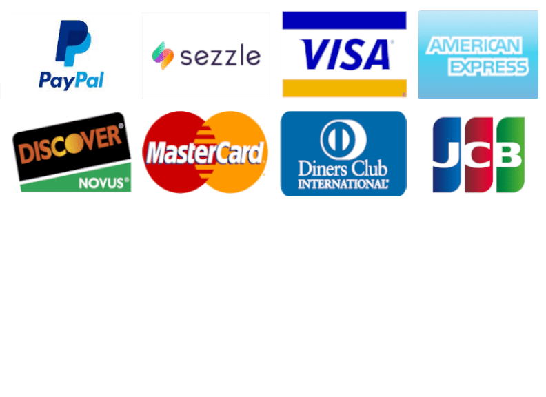 showing payment forms paypal, sezzle, visa, amex, discover, mastercard, dinders club, jcb